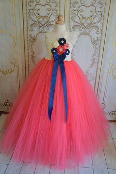 Coral and Navy Flower girl tutu dress by TutuSweetBoutiqueINC