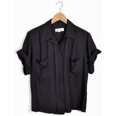 Vintage 90s Minimalist Black Pocket Blouse women's small (£21) ❤ liked on Polyvore featuring tops, blouses, shirts, vintage blouses, over sized shirts, boxy shirt, slouchy shirts and vintage collared shirts