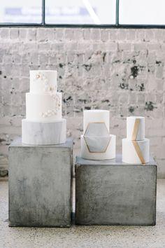 Industrial modern wedding cake