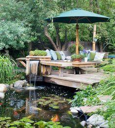 Backyard gazebo and waterfall.