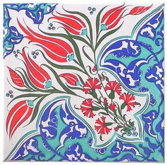 Iznik Turkish Tile - Iznik pottery is named after a town in western Anatolia and was produced between the and centuries Turkish Tiles, Turkish Art, Turkish Pattern, Turkish Design, Ottoman Design, Decoration Design, Tile Art, Tile Patterns, Tulips