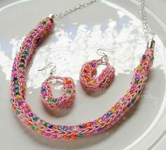 Craft Ideas - French Knit Necklace and Earrings
