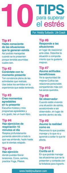Life Coaching Heiddy Sulbarán. 10 Tips para superar el estrés