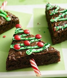 Christmas desserts can be anything from cheerful to nostalgic, but whatever you're baking, it should be extra-special. These are our best recipes for impressive desserts that everyone will remember. Christmas Tree Brownies, Christmas Snacks, Xmas Food, Christmas Cooking, Holiday Treats, Holiday Recipes, Christmas Christmas, Christmas Recipes, Christmas Pudding
