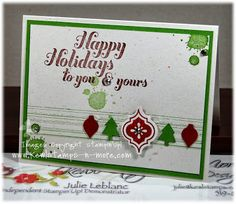 Quick Christmas card class.  Stamp sets used Joy to the World, Gorgeous Grundge and Mosaic Madness