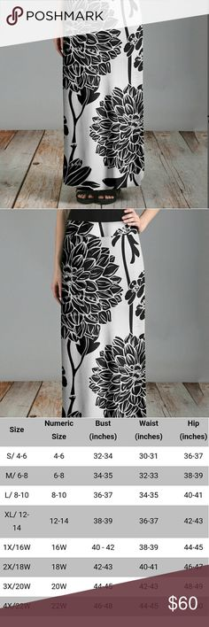 COMING SOON! (L, XL, 1X) Black & White Floral Maxi Gorgeous, silky and contemporary.  Perfect for Spring and summer.  See pic 3 for size chart. 92% poly, 8% spandex.  39in long.  More pics to come... lily Skirts Maxi