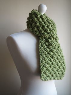Green Merino Wool Scarf.  Handmade and Knitted Chunky and Bobble Textured Warm Winter Scarf (17.00 GBP) by WoollyMomo