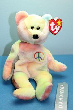 Ty Beanie Baby Original Retired Peace Bear 1996 With Tags Tye Dye Sherbert  40537  Ty 6241260fa354
