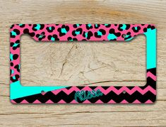 Monogrammed license plate frame car accessory - Cheetah mixed with chevron in shades of hot pink and aqua blue by ToGildTheLily, $16.99 - also available as a front license plate or bicycle license plate - pink car accessories