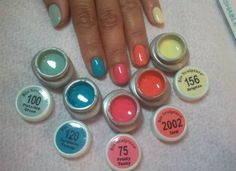 Popping colours :) Bio Sculpture Gel Nails Summer, Bio Sculpture Nails, Gel Nail Colors, Gel Color, Glam Nails, Beauty Nails, Sculptured Nails, Nail Care Tips, Nail Supply