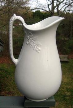 19th Century White Ironstone Ewer / Pitcher by 4HollyLaneAntiques, $350.00