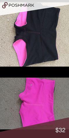 Lulu lemon shorts size 2 Lulu lemon wunder short size 2 reversible black and pink. Worn but great condition. lululemon athletica Shorts