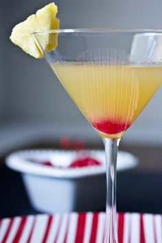 Pineapple upside-down cake martini. Need to find cake vodka and caramel vodka. Didn't know they made those flavors..