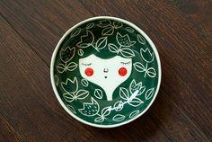 Ceramic face bowl -  face illustrated bowl - ceramic serving bowl in Indigo colour - MADE TO ORDER