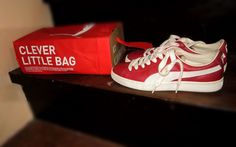 Here's my own puma shoes and clever little bag.