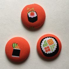 These adorable sushi needleminders (and lots more fun designs!) were just added to my shop. Ready to Ship and only $4 each.