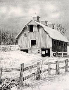 QUIET SEASON BY H. HARGROVE Pencil Sketches Landscape, Pencil Sketch Drawing, Landscape Drawings, Pencil Art Drawings, Art Drawings Sketches, Landscape Art, Cool Drawings, Barn Drawing, Barn Pictures