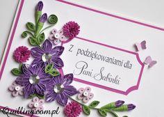 Z podziękowaniami - quilling, greeting card, handmade card