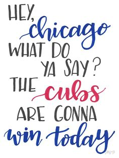 'Hey Chicago - Go Cubs Go' Sticker by jay-p Chicago Cubs Shirts, Chicago Cubs Fans, Chicago Cubs Baseball, Chicago Cubs Pictures, Cubs Room, Snowboarding Quotes, Baseball Quotes, Baseball Stuff, Bear Cubs