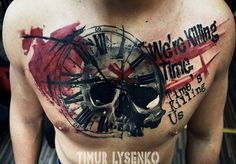 Abstract Skull Tattoo by Timur Lysenko - http://worldtattoosgallery.com/abstract-skull-tattoo-by-timur-lysenko-7/