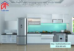 Thiết kế tủ bếp chữ I với gam màu trắng chủ đạo