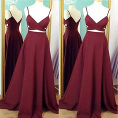 RightBrides 44500 | Burgundy Prom Dresses 2017, Burgundy Two Pieces Prom Dresses, Evening Dress
