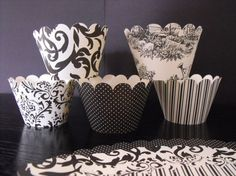 Black and Ivory Cupcake Wrappers  1 dozen by matteya on Etsy, $8.00
