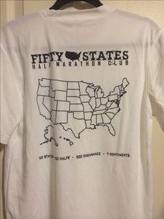 White tech shirt with black map - paint in your 50 States Half Marathon Challenge™ journey - Fifty States Half Marathon Club apparel - running gear www.50stateshalfmarathonclub.com