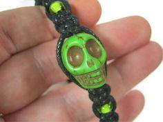 Neon Green Howlite Skull Macrame Bracelet by Abundantearthworks, $6.00
