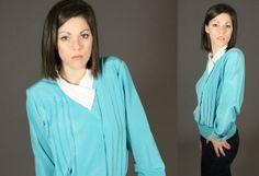 Vintage 1980's Turquoise Grandma Blouse with by SeamlessVintage, $13.00