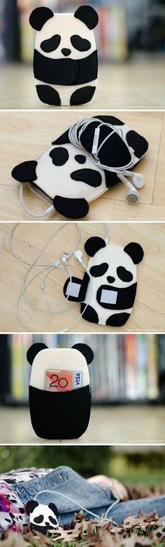 Inspiration for panda/phone/card case! Inspiration for panda/phone/card case! Felt Diy, Felt Crafts, Ipod Holder, Headphone Holder, Earbud Holder Diy, Pochette Portable, Sewing Crafts, Sewing Projects, Diy Couture