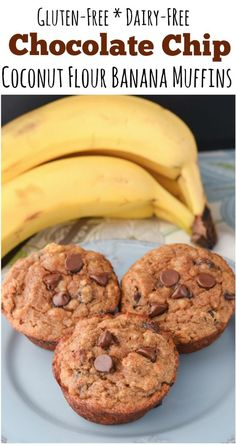 These Coconut Flour Banana Bread Muffins are gluten-free and packed with chunky banana and chocolate chips! They are perfect for breakfast or as a snack with a warm cup of tea! Coconut Flour Desserts, Recipes Using Coconut Flour, Coconut Flour Banana Bread, Banana Flour, Gluten Free Banana Bread, Coconut Recipes, Banana Bread Recipes, Banana Recipes For Diabetics, Keto Bread