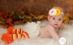 Baby headband and leg warmers SET  Halloween Baby by ThinkPinkBows, $14.95