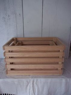 ~ Amish Food Storage ~ Boxes or Crates. These Crates Are Made From Oak. Used to store produce. Food Storage Boxes, Crate Storage, Amish Recipes, Wood Crates, Handmade Wooden, Home And Garden, Outdoor Decor, Totes, Crafts