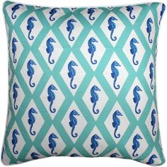 Capri Turquoise Argyle Seahorse Throw Pillow 26x26
