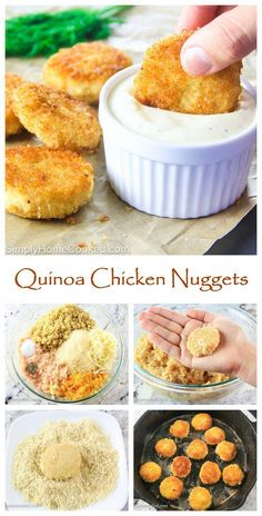 Quinoa chicken nuggets are made with ground chicken breast, cooked quinoa, and sauteed vegetables. Quinoa chicken nuggets are made with ground chicken breast, cooked quinoa, and sauteed vegetables. Baby Food Recipes, Snack Recipes, Cooking Recipes, Healthy Recipes For Toddlers, Healthy Dinner For Kids Picky Eaters, Baby Fingerfood Recipes, Kids Dinner Ideas Healthy, Chicken Nuggets