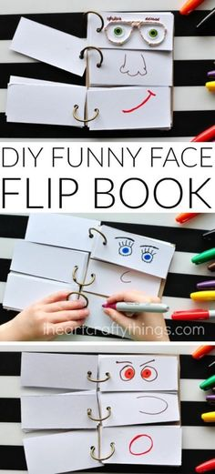 This DIY Funny Face Flip Book is simple to put together and will keep the kids creatively entertained all afternoon. - This DIY Funny Face Flip Book is simple to put together and will keep the kids c. Summer Activities For Kids, Craft Activities, Toddler Activities, Diy For Kids, Summer Kids, Babysitting Activities, Summer Food, Activity Toys, Kids Activity Ideas