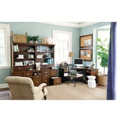 Corner Desk Example - Original Home Office™ 5-Cabinet Credenza with Wood Top