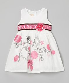 Another great find on #zulily! the Silly Sissy White & Pink Sketch Flower Dress - Toddler & Girls by the Silly Sissy #zulilyfinds