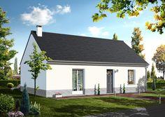 Modèle GREGALE B  Pavillon plain-pied comprenant cuisine ouverte sur le séjour, salle de bains, WC, 2 chambres.   Surface habitable : 67,33m².