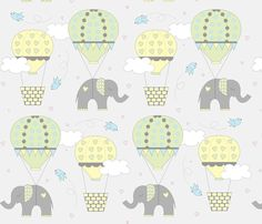 Hot Air Balloon Elephant Yellow Green fabric by jenniferfranklin on Spoonflower - custom fabric Elephant Baby Bedding, Elephant Fabric, Elephant Nursery, Cute Elephant, Photoshop For Photographers, Photoshop Actions, Yellow Nursery, Green Fabric, Hot Air Balloon