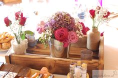 lila hydrangea with roses and gypsophila