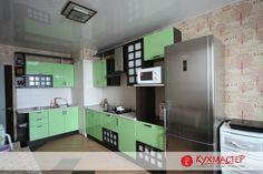 Дизайн и планировка мебели в кухне с выступом
