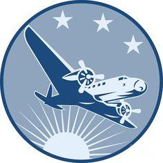 Airplane Posters and Prints | Vintage Propeller Airplane Retro Digital Art