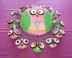 Owl cake n cupcakes for girls birthday