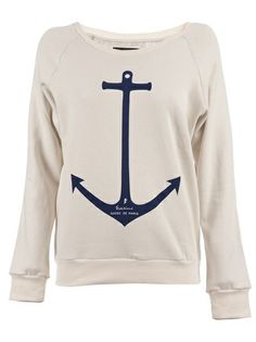 'Tidal Wave' sweater from Paris.  A nude cotton blend sweater from Gosse De Paris featuring an anchor print motif to the front, a scoop neck, long sleeves, elasticated cuffs and an elasticated waist.