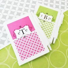 Mod Monogram Notebook Favors from Wedding Favors Unlimited
