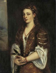 """From the studi of Titian, """"Young Woman Holding an Apple""""  mid to late 16th century (exact date unknown) Sotherbies Auctions, New York. Tiziano Vecellio"""