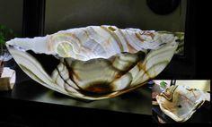 Stone vessel sink Onyx Alabaster natural top by INSPIREDSTONEWORK
