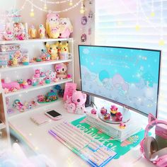 gamer room Rearranged my shelves next to my computer Not sure if Im completely happy with them but Ill probably leave them as is because Im Cute Room Decor, My Room, Girl Room, Salle Pastelle, Console Style, Kawaii Bedroom, Do It Yourself Design, Gaming Room Setup, Decorating Rooms